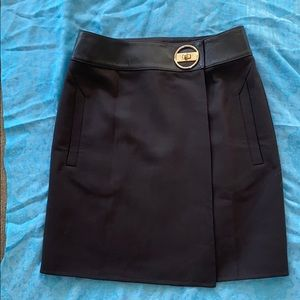 Gucci wool/leather wrap skirt